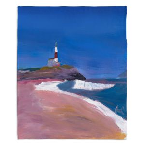 Decorative Fleece Throw Blankets | Markus Bleichner - Lighthouse 1 | coast beach building waves ocean sea