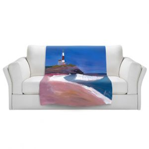 Artistic Sherpa Pile Blankets | Markus Bleichner - Lighthouse 1 | coast beach building waves ocean sea