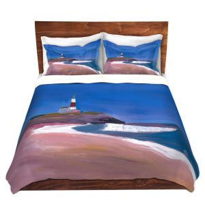 Artistic Duvet Covers and Shams Bedding | Markus Bleichner - Lighthouse 1 | coast beach building waves ocean sea