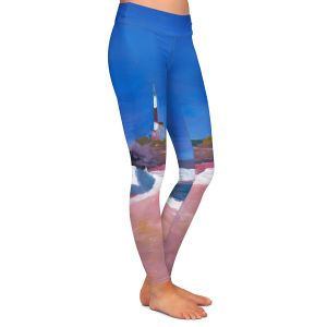 Casual Comfortable Leggings | Markus Bleichner - Lighthouse 1 | coast beach building waves ocean sea