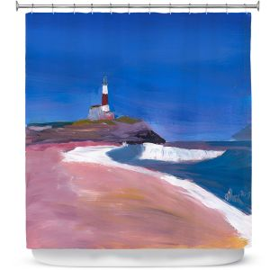 Premium Shower Curtains | Markus Bleichner - Lighthouse 1 | coast beach building waves ocean sea