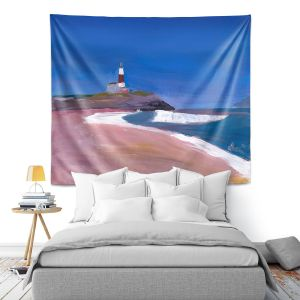 Artistic Wall Tapestry | Markus Bleichner - Lighthouse 1 | coast beach building waves ocean sea