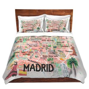 Artistic Duvet Covers and Shams Bedding | Markus Bleichner - Madrid Spain Map | Countries Cities Travel