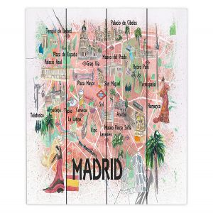 Decorative Wood Plank Wall Art | Markus Bleichner - Madrid Spain Map | Countries Cities Travel