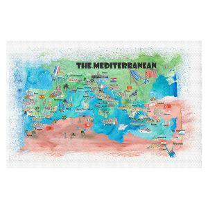 Decorative Floor Covering Mats | Markus Bleichner - Mediterranean Tourist Map 2 | Countries Travel Ocean