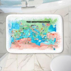 Decorative Bathroom Mats | Markus Bleichner - Mediterranean Tourist Map 2 | Countries Travel Ocean