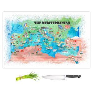 Artistic Kitchen Bar Cutting Boards | Markus Bleichner - Mediterranean Tourist Map 2 | Countries Travel Ocean