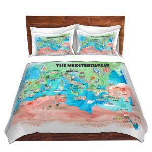 Artistic Duvet Covers and Shams Bedding | Markus Bleichner - Mediterranean Tourist Map 2 | Countries Travel Ocean