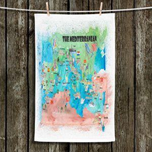 Unique Hanging Tea Towels | Markus Bleichner - Mediterranean Tourist Map 2 | Countries Travel Ocean