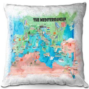 Throw Pillows Decorative Artistic | Markus Bleichner - Mediterranean Tourist Map 2 | Countries Travel Ocean
