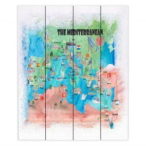 Decorative Wood Plank Wall Art   Markus Bleichner - Mediterranean Tourist Map 2   Countries Travel Ocean