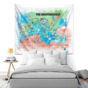 Artistic Wall Tapestry   Markus Bleichner - Mediterranean Tourist Map 2   Countries Travel Ocean
