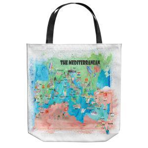 Unique Shoulder Bag Tote Bags   Markus Bleichner - Mediterranean Tourist Map 2   Countries Travel Ocean