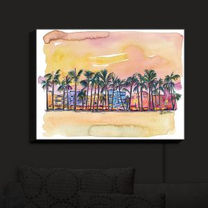 Nightlight Sconce Canvas Light | Markus Bleichner - Miami Ocean Drive | Sunset Florida Palm Trees