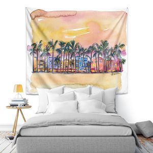 Artistic Wall Tapestry | Markus Bleichner - Miami Ocean Drive | Sunset Florida Palm Trees