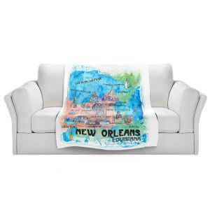 Artistic Sherpa Pile Blankets | Markus Bleichner - New Orleans Map | Cities Travel