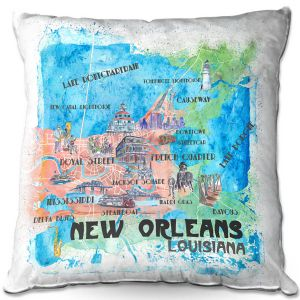 Throw Pillows Decorative Artistic | Markus Bleichner - New Orleans Map | Cities Travel