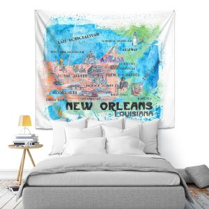 Artistic Wall Tapestry   Markus Bleichner - New Orleans Map   Cities Travel