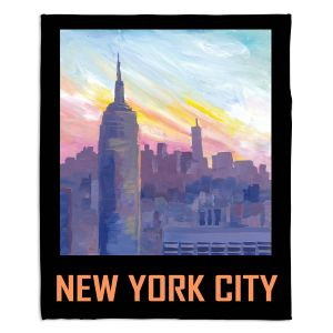 Decorative Fleece Throw Blankets | Markus Bleichner - New York City Retro Poster | Cities Travel
