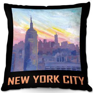 Decorative Outdoor Patio Pillow Cushion | Markus Bleichner - New York City Retro Poster | Cities Travel