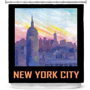 Premium Shower Curtains | Markus Bleichner - New York City Retro Poster | Cities Travel