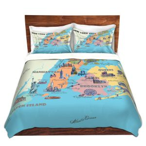 Artistic Duvet Covers and Shams Bedding | Markus Bleichner - New York Tourist 3 | map city simple