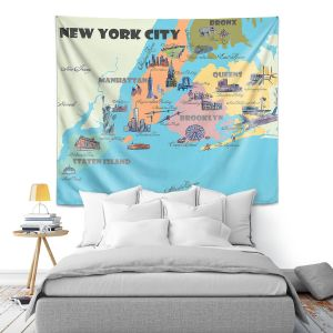 Artistic Wall Tapestry   Markus Bleichner - New York Tourist 3   map city simple