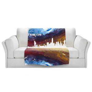 Artistic Sherpa Pile Blankets | Markus Bleichner - New York Scissor Blue | cityscape silhouette