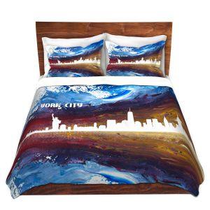 Artistic Duvet Covers and Shams Bedding   Markus Bleichner - New York Scissor Blue   cityscape silhouette