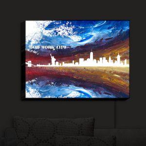 Nightlight Sconce Canvas Light | Markus Bleichner - New York Scissor Blue | cityscape silhouette