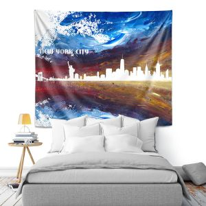 Artistic Wall Tapestry   Markus Bleichner - New York Scissor Blue   cityscape silhouette