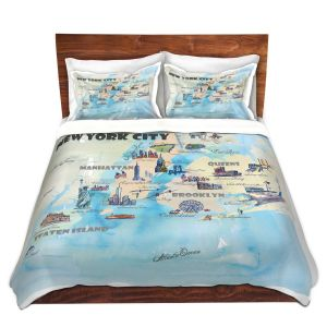 Artistic Duvet Covers and Shams Bedding | Markus Bleichner - New York Tourist 2 | map city simple