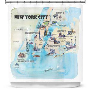 Premium Shower Curtains | Markus Bleichner - New York Tourist 2 | map city simple