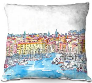 Throw Pillows Decorative Artistic   Markus Bleichner - Palermo Italy   cityscape watercolor harbor ink ocean sea boats