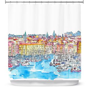Premium Shower Curtains | Markus Bleichner - Palermo Italy | cityscape watercolor harbor ink ocean sea boats