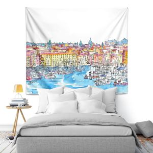 Artistic Wall Tapestry | Markus Bleichner - Palermo Italy | cityscape watercolor harbor ink ocean sea boats