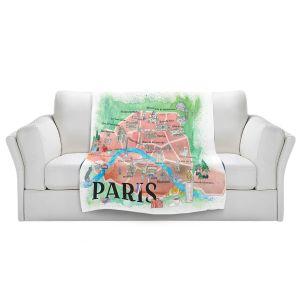 Artistic Sherpa Pile Blankets | Markus Bleichner - Paris Love Map 1 | Cities Maps Travel