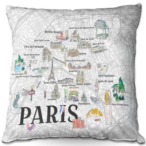 Throw Pillows Decorative Artistic   Markus Bleichner - Paris Love Map 2   Cities Maps Travel