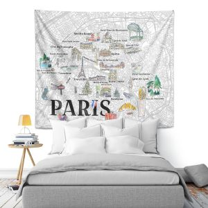 Artistic Wall Tapestry   Markus Bleichner - Paris Love Map 2   Cities Maps Travel