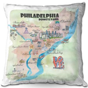 Throw Pillows Decorative Artistic | Markus Bleichner - Philadelphia Tourist 2 | map city simple