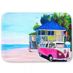 Decorative Bathroom Mats | Markus Bleichner - Pink Surf Bus l | VW Bus Beach House Ocean