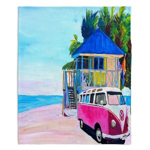 Decorative Fleece Throw Blankets | Markus Bleichner - Pink Surf Bus l | VW Bus Beach House Ocean
