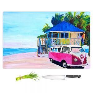 Artistic Kitchen Bar Cutting Boards | Markus Bleichner - Pink Surf Bus l | VW Bus Beach House Ocean