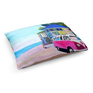 Decorative Dog Pet Beds | Markus Bleichner - Pink Surf Bus l | VW Bus Beach House Ocean