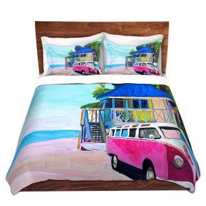 Artistic Duvet Covers and Shams Bedding | Markus Bleichner - Pink Surf Bus l | VW Bus Beach House Ocean