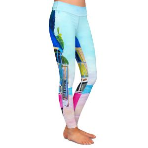 Casual Comfortable Leggings | Markus Bleichner - Pink Surf Bus l | VW Bus Beach House Ocean