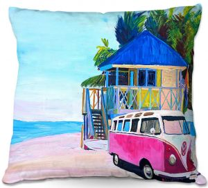Decorative Outdoor Patio Pillow Cushion | Markus Bleichner - Pink Surf Bus l | VW Bus Beach House Ocean