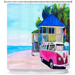 Premium Shower Curtains | Markus Bleichner - Pink Surf Bus l | VW Bus Beach House Ocean