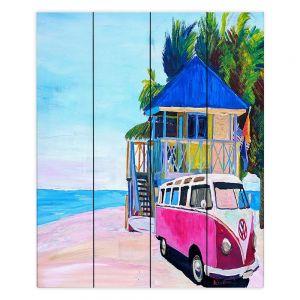 Decorative Wood Plank Wall Art | Markus Bleichner - Pink Surf Bus l | VW Bus Beach House Ocean