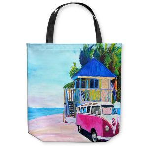 Unique Shoulder Bag Tote Bags | Markus Bleichner - Pink Surf Bus l | VW Bus Beach House Ocean